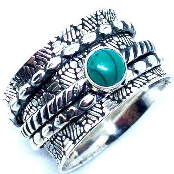 Turquoise Spinner 925 Sterling Silver Ring